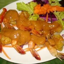 T21 - Brochettes crevettes saté